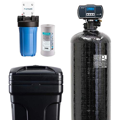 Aquasure Water Softener w/Aquatrol Digital Head and 10' Sediment Dual Purpose Whole House Water Filter (64,000 Grains)