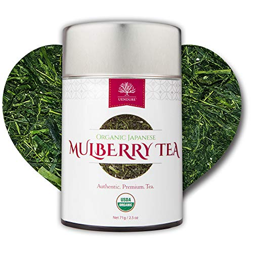 Mulberry Loose Leaf Herbal Tea - 100% USDA Certified Organic | Authentic Japanese Premium Tea | SuperFood | Caffeine Free | Great Nighttime Tea | Vitamins & Minerals | Vegan Friendly | Recyclable Tin