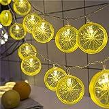 Lumière Décorative De Chaîne De Forme De Tranche De Citron À Piles Alimentée Pour La Décoration De Festival En Plein Air En Plein Air Festival De Citron Lampe De Led De Fruits Guirlandes