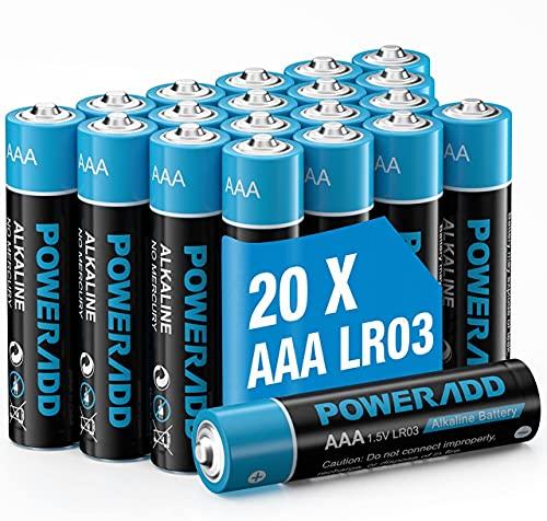 AAA Pilas Alcalinas LR03 Baterías de 10 Años Larga Duración para Linternas, Relojes, Mandos a Distancia, Juguetes-20 Unidades de 1.5V…