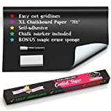 Chalkboard Contact Paper- Chalkboard Paper Roll Peel and Stick 7 Feet Black Contact Paper Chalkboard Wallpaper Stick and Peel Chalkboard Paper for Wall Peel and Stick Chalkboard