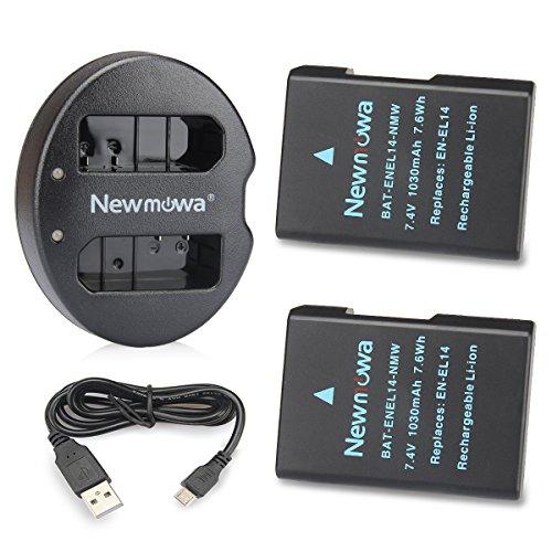 Newmowa EN-EL14 EN-EL14a Batería de repuesto (2-Pack) y Kit de Cargador Doble para Micro USB portátil para Nikon EN-EL14 EN-EL14a Nikon D3100 D3200 D3300 D3400 D3500 D5100 D5200 D5300 D5500 D5600 P7000 P7100 P7700 P7800