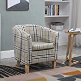 WestWood Linen Fabric Tub Chair Armchair Dining Living Room Lounge Office Modern Furniture Cream Checked TC03 New