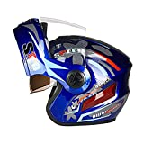 FLAMEER Casque de Moto Intégral Modulable Rabattable Street Motocross Taille Unique Adulte - Bleu
