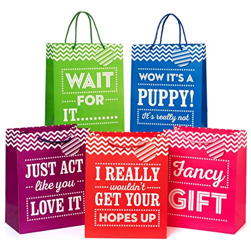"""Large 13"""" Gift Bags - Pack of 5 - Funny Gift Wrap for Birthdays and All Occasions"""