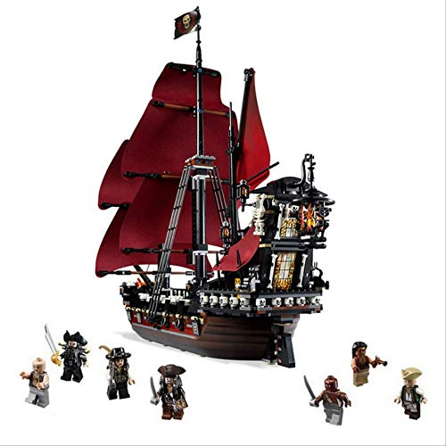 N-A Pearl Ship Queen Anne's Revenge Pirates Caribbean Bricks Compatible Lepining Pirates Barco Barco Modelo Building Toy Ver.2 Negro