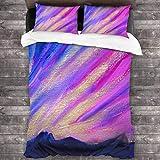 Juego de sábanas de Pintura al óleo Rosa púrpura al Atardecer Juegos de sábanas Transpirables Resistentes a Las Manchas Funda de Cama Microfibra Ultra Suave 3 Piezas con sábana