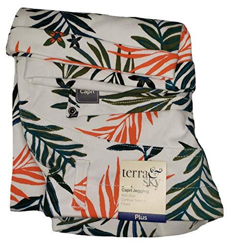 Arctic White Palm Print Plus Size Capri Jegging - 4X