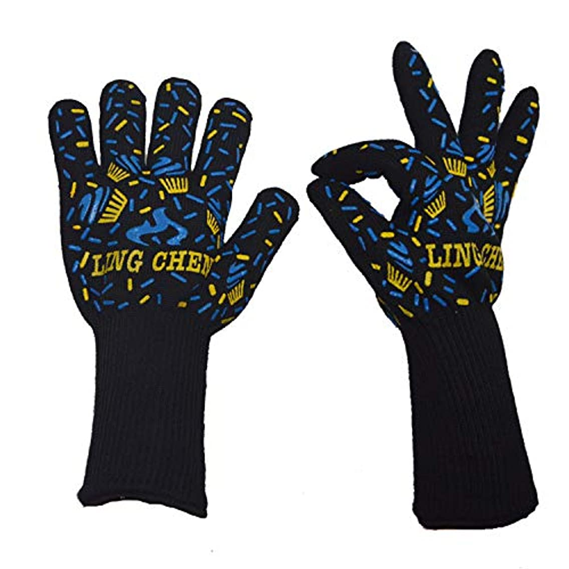 Extreme Heat Resistant Grill-BBQ Gloves Oven Mitt, Designed For Cooking, Kitchen, Fireplace, Grilling (Size : L(13 in), UnitCount : 2 Pairs)