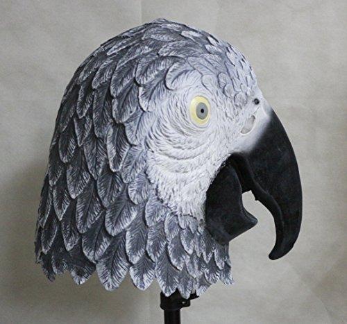 The Rubber Plantation TM- Masque en Latex pour Perroquet Gris Africain-Accessoire de déguisement pour Halloween, Unisexe-Adulte, 619219293570, Taille Unique