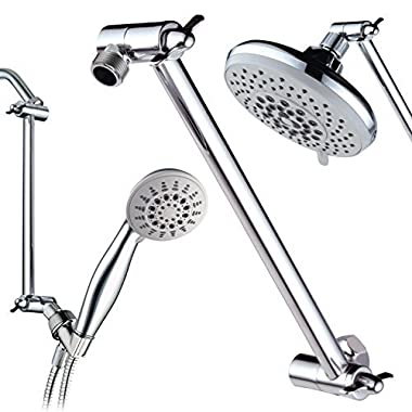 Hotel Spa Solid Brass Height/Angle Adjustable Extension Arm for Perfect Height, Angle and Easy Reach of Any Showerhead