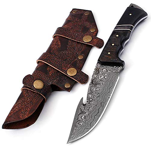 Damascus Hunting Knife Gut Hook One-of-a-Kind 10.5 inches Custom Handmade by ColdLand IRH17