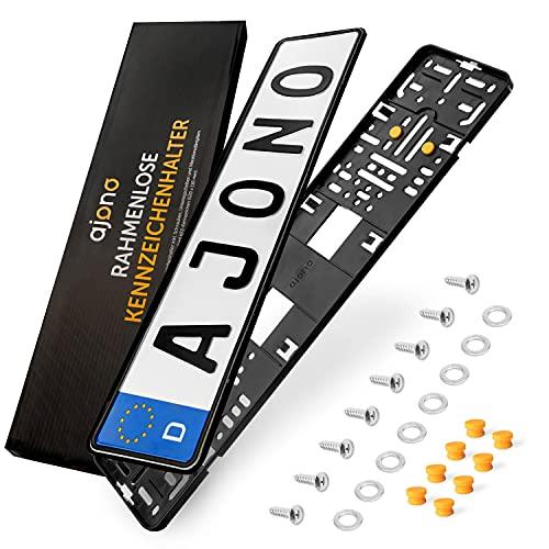 Kennzeichenhalter [2er Premium-Set] | Kennzeichenhalter Rahmenlos & werbefrei | Nummernschildhalterung Auto mit Vibrationsschutzpads & Montagezubehör für EU Standardkennzeichen [520 x 110 mm]