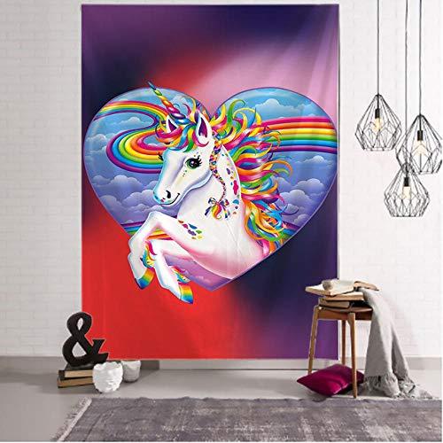 Bonito Tapiz de Unicornio de Dibujos Animados para Colgar en la Pared, decoración de habitación para niños, Alfombra de Pared psicodélica, Tienda de campaña, colchones de Viaje