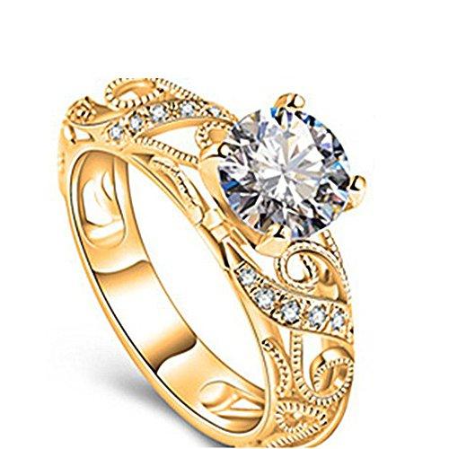 DEtrade Damen Kristall Ringe Mode Finger Ehering Ring Verlobungsring rhodiniert (10, Gold-F)