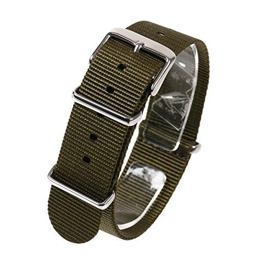 NATMK 時計ベルト 22mm NATO ナイロン ストラップ 取付マニュアル付 (カーキグリーン)