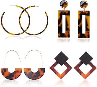 4 Pairs Fashion Drop Earrings Set – Tortoise ShellResinHoop Earrings, Flower Dangle/Natural Stone/Snakeskin Print Leather Earrings and Tassel earrings for Women Girls