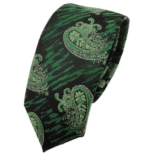 TigerTie Schmale Krawatte grün moosgrün schwarz parsley-gemustert - Schlips Binder Tie