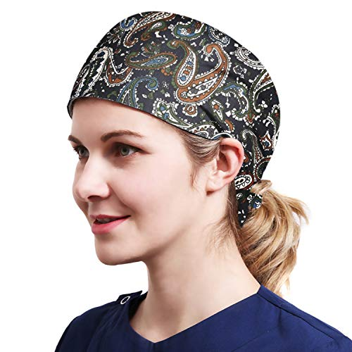Alex Vando One Size Working Cap with Sweatband Adjustable Tie Back Hats Printed for Women,print01