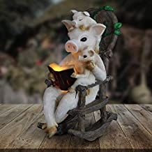 Exhart Solar Pig Family Reading a Book on a Rocking Chair Garden Statue - Bookworm Pigs Mini Figurine w/Solar LED Lights, Pig Decor, Booklovers Pig Statue, Pig Decorations, 6.3