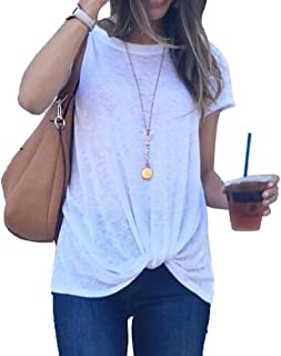 Soft Cotton Summer Tops for Women Knot Casual Short Sleeve T Shirts