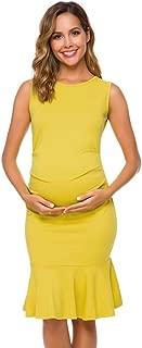 Women's Sleeveless Maternity Dress Mermaid Flare Ruffle Pregnancy Tank Dress