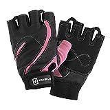 TAVIALO Guantes de Fitness para Mujer S (13-16 cm), Color Rosa/Negro, Respaldo de Cuero, Guantes de Gimnasio Mujer para Crossfit Bodybuilding Bicicleta y Contando