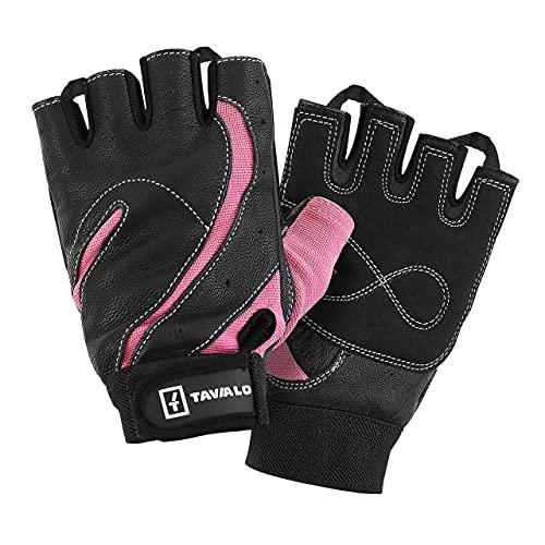 TAVIALO Guantes de Fitness para Mujer M (16-19 cm), Color Rosa/Negro, Respaldo de Cuero, Guantes de Gimnasio Mujer para Crossfit Bodybuilding Bicicleta Entrenamiento Deporte
