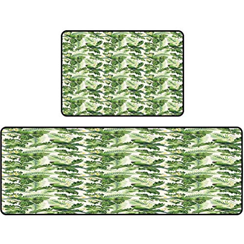 Kitchen Floor mat, Exotic Tropic Pattern with Palm Leaves Breadfruits Plumeria Flowers and Parrots, Kitchen mats Cushioned Anti Fatigue, 20'x63' + 20'x31', Lime Green Cream