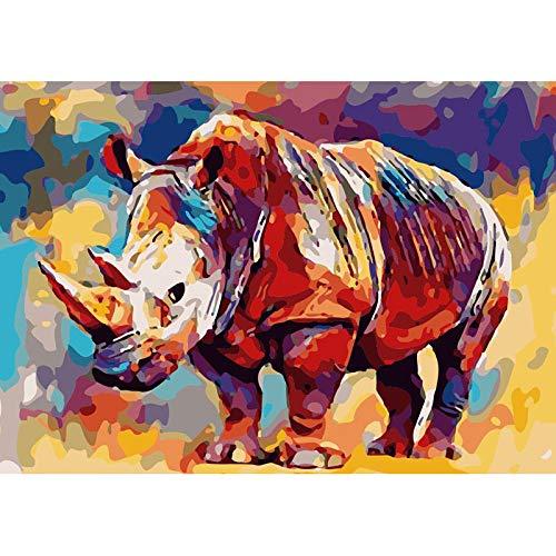 OLGKJ GemäLde Nach Zahlen DIY Wand Bilder Bild GemäLde Nashorn Tier Leinwand Hochzeitsdekoration GemäLde Bild 40x50cm Rahmenlos
