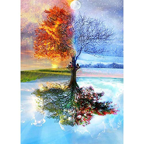 5D Diy Pintura Diamante Taladro Completo Moon Tree Four Seasons Adultos Diamond Painting Kit Número Punto Cruz Hogar Pared Decoración Diamantes Imitación Bordado Manualidades 40x60cm P3612
