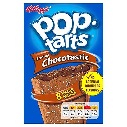 Kellogg's Pop Tarts Chocotastic   US Frühstücksklassiker für den Toaster   8 Keksschnitten gefüllt mit Kakaocreme zum Toasten oder kalt Essen, 1 x 384g, 384 g