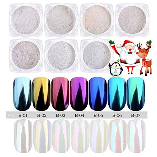 PrettyDiva 7 Jar Pearl Powder Mirror Effect Chrome Nail Powder Metallic Nail Manicure Pigment