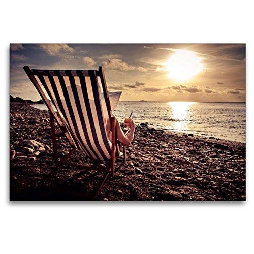 Premium Textil-Leinwand 120 x 80 cm Quer-Format Frau im Liegestuhl am Strand | Wandbild, HD-Bild auf Keilrahmen, Fertigbild auf hochwertigem Vlies, Leinwanddruck von Val Thoermer