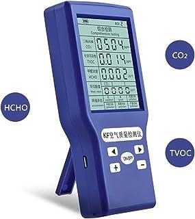 Protable気質テスター、TVOC、HCHO、AQI、CO2 PPMメーターミニ二酸化炭素検出器ガス分析装置2.8in気質テスター、