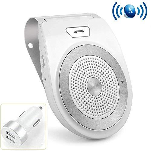 Aigital Kit Mains Libres pour Voiture Bluetooth avec élimination du Bruit pour GPS/Musique iPhone, Samsung et Autre Smartphones, Vous Pouvez connecter Deux téléphones en même Temps