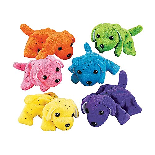 Plush Neon Dogs (1 dozen) - Bulk, Assorted Colors