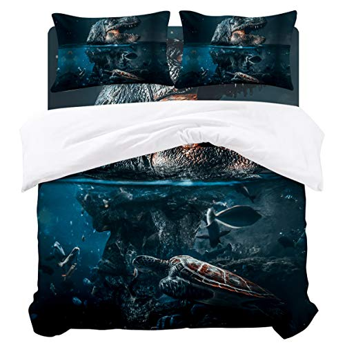 URDER 4 Pcs Hotel Luxury Bedding Set Bedclothes, Dinosaur Turtle Fossil Synthesis Polyester Duvet Cover Sets, Soft and Easy Care, (1 Duvet Cover with Sheets+2 Pillowcases), Full Size