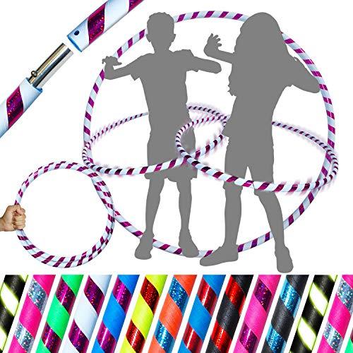 Pro Kids Hula-Hoop für junge Erwachsene und Kinder! (10 Farben Ultra-Griff / Glitzer-Deko) Reise-Hula-Hoop ideal für Reifentanz, Fitnesstraining, Zirkus! (Weiß / Lila Glitter)