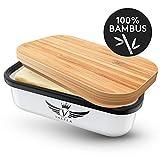 VALELA Butterdose Edelstahl - Butterschale mit Deckel aus Bambus in weiß - bruchsicherer als Jede Butterdose Porzellan BZW. Emaille oder Keramik Butterdose