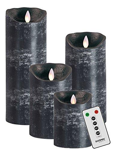 sompex Flame Echtwachs LED Kerze, fernbedienbar, anthrazit - in verschiedenen Größen, Höhe:4er Set (10-23cm + Fernbedienung)