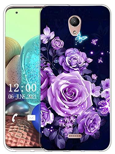 Sunrive Kompatibel mit Wiko U Feel Fab Hülle Silikon, Transparent Handyhülle Schutzhülle Etui Hülle (X Schmetterlinge und Rosen)+Gratis Universal Eingabestift MEHRWEG
