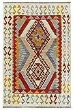HAMID Alfombra Kilim Afgano - 100% Lana Tejida a Mano - Alfombra étnica de salón, Dormitorio, Comedor (153x101cm)