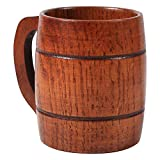 Holz Bierkrug, Vintage Bier Kaffee Trinkbecher mit Henkel Holzkrug für Oktoberfest/Bierfest