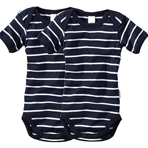 WELLYOU Conjunto de 2 Bodys Mangas Cortas para bebés/niños, Color Azul Marino con Rayas Blancas. Tallas 50-134