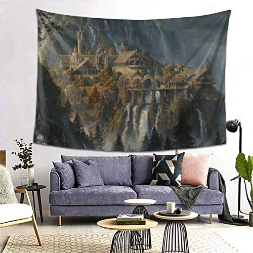 Asa Dutt528251 Fantasy Art Artwork Lord Rings Lotr Waterfall City Tapestry Wall Hanging, Durable Easy to Hanging Machine Washable 60 * 40inch
