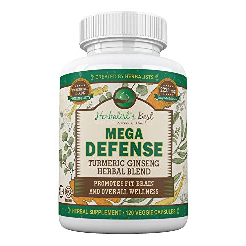 Mega Defense The Best Immune & Brain Support Supplement - Turmeric Curcumin with Ginseng, Olive Leaf & Bioperine(Black Pepper). Arthritis, Joint Natural Pain Relief with Anti-Inflammatory Antioxidants
