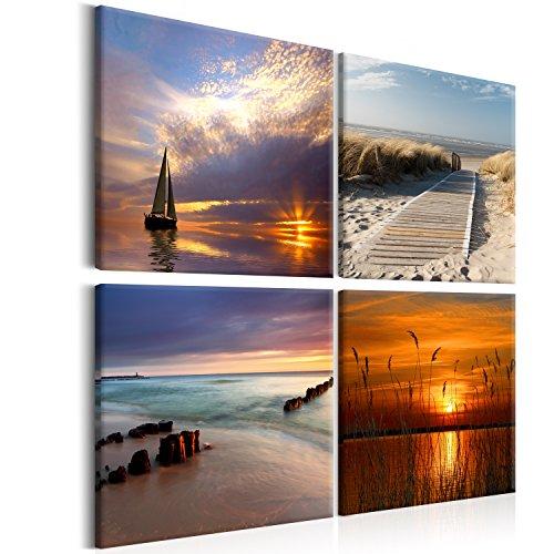 murando - Bilder Landschaft 40x40 cm Vlies Leinwandbild 4 Teilig Kunstdruck modern Wandbilder XXL Wanddekoration Design Wand Bild - Natur Meer Wasser Strand c-B-0266-b-i