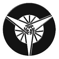 蒔絵シール 家紋 「三扇 黒」