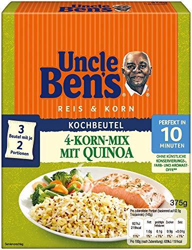 Uncle Ben's Reis & Korn 4-Korn Mix mit Quinoa, 10 Minuten Kochbeutel, 6 Packungen (6 x 375g)